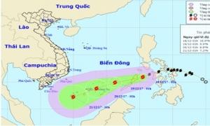 Trưa 18/12 bão Kai-tak sẽ vào Biển Đông và mạnh thêm