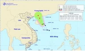 Vùng áp thấp đã mạnh lên thành áp thấp nhiệt đới, Biển Đông mưa dông, gió giật cấp 8